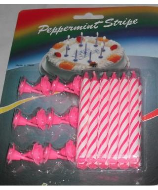 Candeline per torta di compleanno rosa 12 pz.