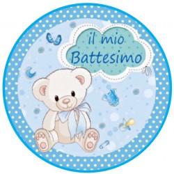 cialda per torta Battesimo Maschio